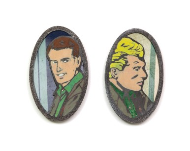 Manly Man Brooches. Copper, enamel, tin, sterling silver, stainless steel pin wire. 2012