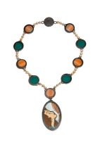 "She was not afraid to flaunt her talents. Necklace. Copper, enamel, tin, sterling silver, pearls, silk. 11 3/4 x 7 1/2 x 1/4"" Photo by Sara Brown 2012"